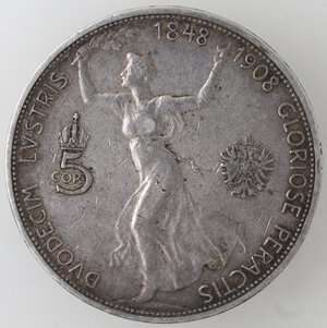 reverse: Austria. Francesco Giuseppe. 1848-1916. 5 Corone celebrative per il 60° anno di regno 1848-1908. Ag.