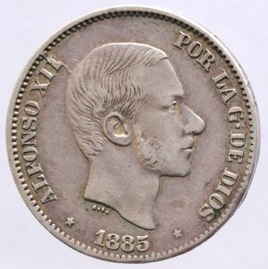 obverse: Filippine. Alfonso XII. 50 Centimes 1885. Ag.