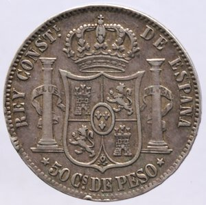 reverse: Filippine. Alfonso XII. 50 Centimes 1885. Ag.