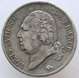 obverse: Francia. Luigi XVIII. 1814-1824. 5 franchi 1817 B. Zecca di Rouen. Ag.