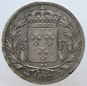 reverse: Francia. Luigi XVIII. 1814-1824. 5 franchi 1817 B. Zecca di Rouen. Ag.