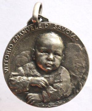 obverse: Medaglie. Vittorio Emanuele III. 1900-1943. Medaglia 1937 per la nascita di Vittorio Emanuele di Savoia. Ag.