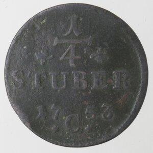 reverse: Germania-Cleves.Federico II. 1740-1786.1/4 di Stuber 1753 C.Ae.