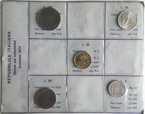 obverse: Repubblica Italiana. Serie divisionale 1974. Metalli vari. FDC. Senza argento.
