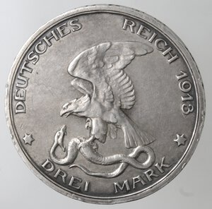 obverse: Germania-Prussia.Guglielmo II. 1888-1918.3 marchi 1913.Ag.