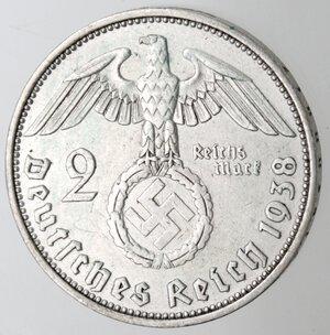 reverse: Germania. Terzo Reich. 1933-1945. 2 Marchi 1938. Ag.