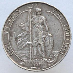 reverse: Gran Bretagna. Edoardo VII. 1901-1910. Fiorino da due scellini 1903. Ag 925.