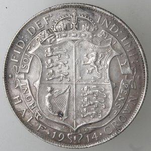 reverse: Gran Bretagna. Giorgio V. 1910-1936. Mezza Corona 1914. Ag.