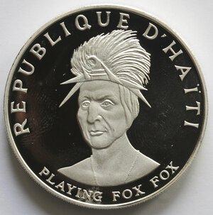 obverse: Haiti. Repubblica. 10 Gourdes 1970. Fox Chief Playing Fox. Ag 999.