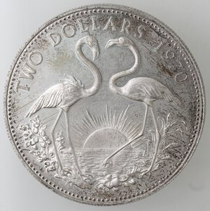 reverse: Bahamas.Elisabetta II.2 Dollari 1970. Ag 925.