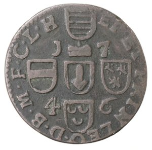 reverse: Belgio. Liegi. John Theodore. Liard 1746. Ae.