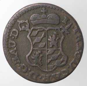 obverse: Belgio. Liegi. John Theodore. Liard 1752. Ae.
