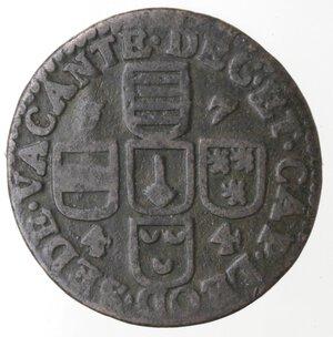 reverse: Belgio. Liegi. Sede Vacante. Liard 1744. Ae.