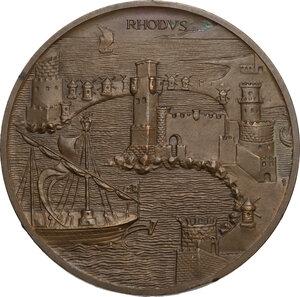 obverse: Medaglia unifacie o prova di medaglia, con la raffigurazione del porto di Rodi