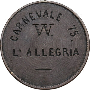 reverse: Gettone del Carnevale 1875 con ritratto di Vittorio Emanuele II