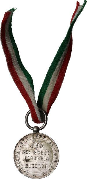 reverse: Vittorio Emanuele III (1900-1943). Medaglia 35° Reggimento Fanteria, per le Campagne 1859 - 1860-61 - 1866 - 1870. RICORDO