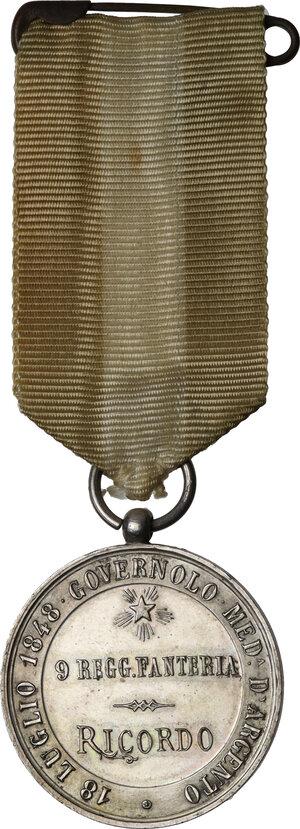 reverse: Umberto I (1878-1900).. Medaglia 9° Reggimento Fanteria RICORDO