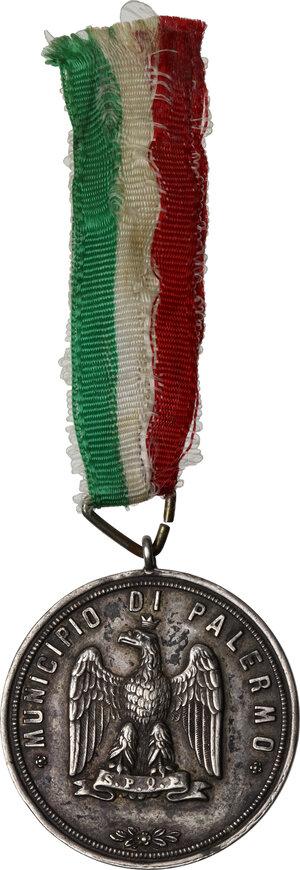 obverse: Municipio di Palermo. Medaglia al merito Scuole elementari, 1887 sul modello della Medaglia dei Mille