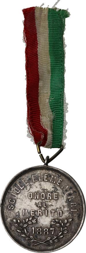 reverse: Municipio di Palermo. Medaglia al merito Scuole elementari, 1887 sul modello della Medaglia dei Mille