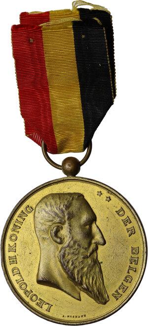 obverse: Leopoldo II (1865-1909), Re del Belgio.. Medaglia 1892