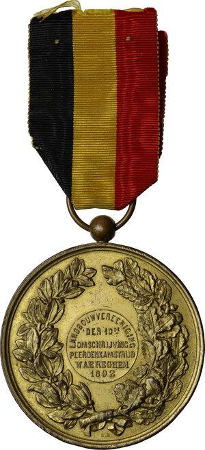 reverse: Leopoldo II (1865-1909), Re del Belgio.. Medaglia 1892