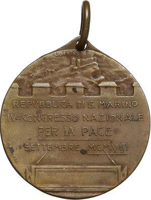 reverse: Medaglietta 1908 per il IV Congresso Nazionale per la Pace tenutosi nella Repubblica di San Marino