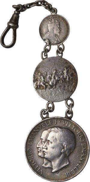 obverse: Catena per orologio da taschino composta da due medaglie dei carabinieri e 5 Cents di Edoardo VII 1907