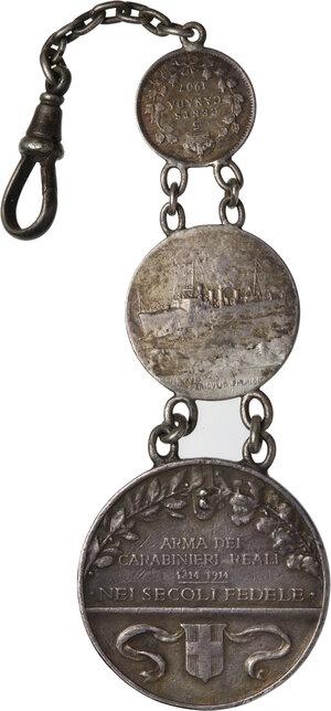 reverse: Catena per orologio da taschino composta da due medaglie dei carabinieri e 5 Cents di Edoardo VII 1907