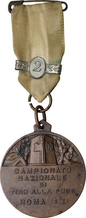 obverse: Medaglia A. XI per il Campionato Nazionale di Tiro alla Fune. OND Roma
