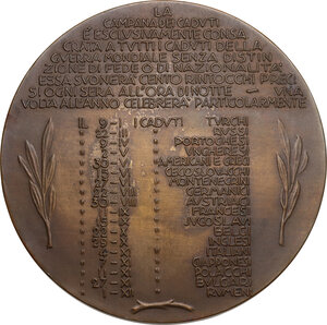 reverse: Medaglia 1939, A. XVIII, Campana ai caduti della Guerra Mondiale