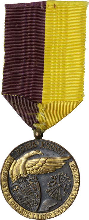 reverse: Francisco Franco (1892-1975). Medaglia per la campagna del 1936-1939, assegnata durante la Guerra civile spagnola