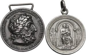 obverse: Lotto di due medaglie a tema medico: Congresso Medico Chirurgico Calabrese 1933 e XIV Congresso Italiano di Pediatria 1951