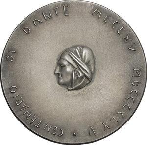 obverse: Dante Alighieri (1265-1321). Medaglia per il VII centenario della nascita di Dante e i 2719 anni dalla Fondazione di Roma