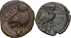 reverse: Northern Apulia, Teate. Lot of 2 AE Biunces, 225-200 BC