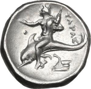 reverse: Southern Apulia, Tarentum. AR Nomos, c. 325-281 BC