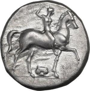 obverse: Southern Apulia, Tarentum. AR Nomos, Sa- and Kon- magistrates, c. 332-302 BC