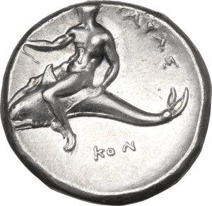 reverse: Southern Apulia, Tarentum. AR Nomos, Sa- and Kon- magistrates, c. 332-302 BC