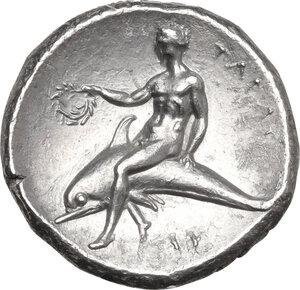 reverse: Southern Apulia, Tarentum. AR Nomos, c. 281-270 BC