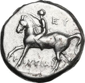 obverse: Southern Apulia, Tarentum. AR Nomos, c. 272-240 BC. Histiar-and Eu-magistrates