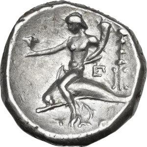 reverse: Southern Apulia, Tarentum. AR Nomos, c. 281-240 BC