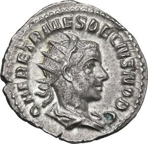 obverse: Herennius Etruscus as Caesar (251 AD).. AR Antoninianus, Rome mint