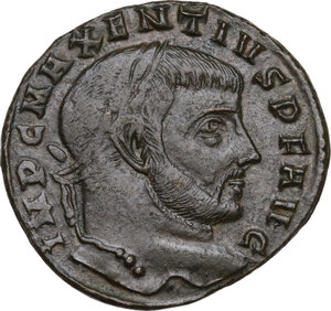 obverse: Maxentius (306-312).. AE Follis, 307 AD. Aquileia mint