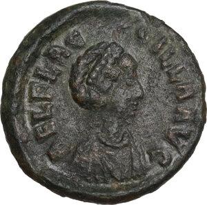 obverse: Aelia Flaccilla, wife of Theodosius I (died 386 AD).. AE 12.5mm. Siscia mint