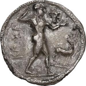 obverse: Bruttium, Kaulonia. AR Nomos, circa 525-500 BC
