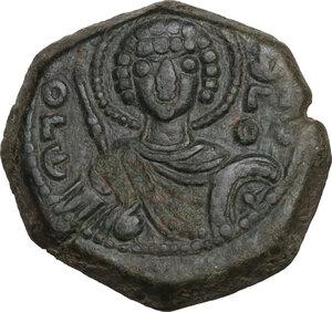 obverse: Manuel I, Comnenus (1143-1180).. AE Tetarteron. Thessalonica mint, c. 1152 AD