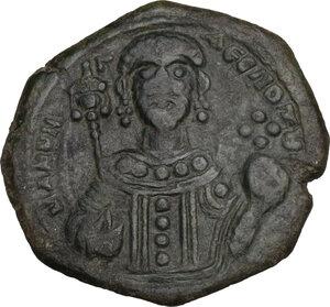 reverse: Manuel I, Comnenus (1143-1180).. AE Tetarteron. Thessalonica mint, c. 1152 AD