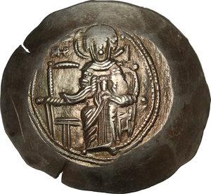 obverse: Isaac II, Angelus (1185-1195).. EL Aspron Trachy, Constantinople mint