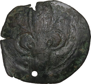 obverse: Michael VIII Palaeologus (1261-1282).  Æ Trachy, Thessalonica mint