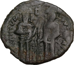 obverse: Andronicus II and Michael IX (1295-1320).. AE Assarion, Constantinople mint