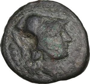 obverse: Bruttium, Vibo Valentia. AE Triens, c. 193-150 BC